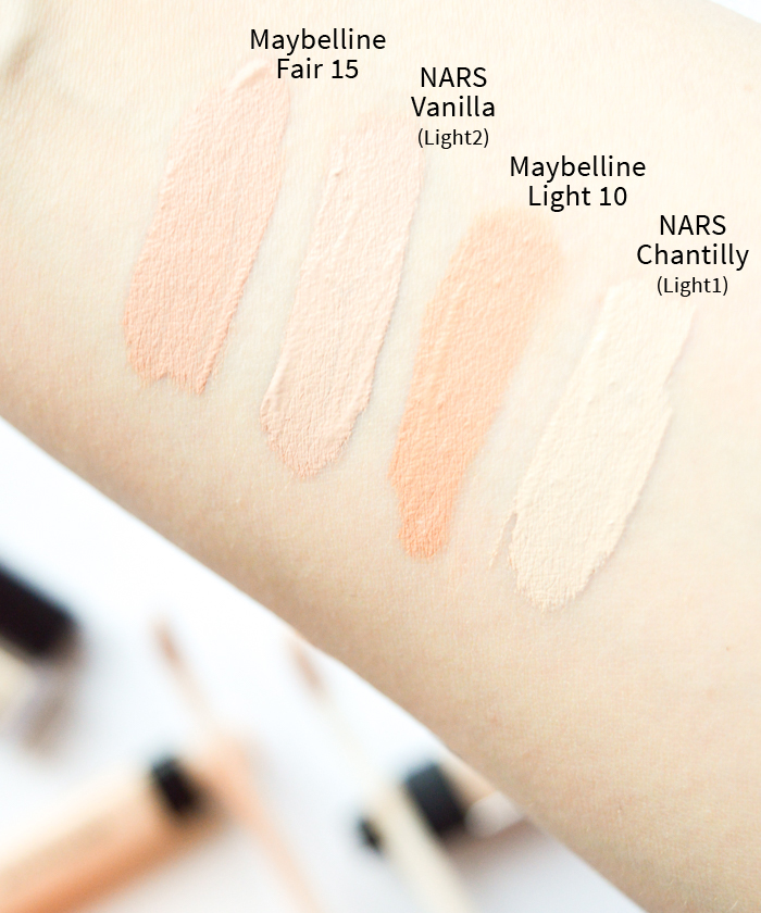 NARS Radiant Creamy Concealer Maybelline Fit Me peitevoide_swatch